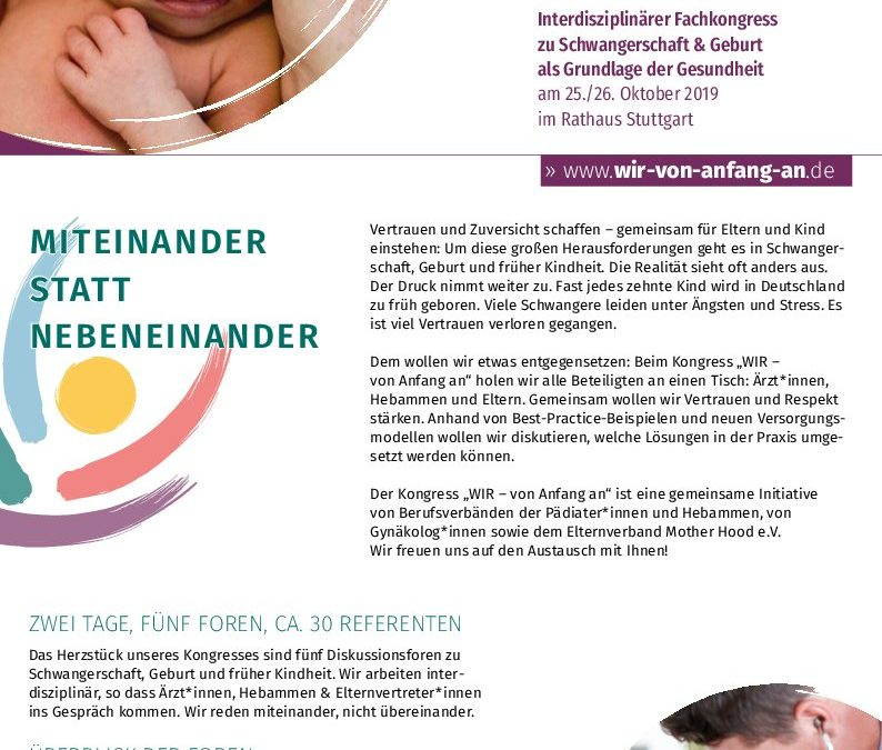Wir von Anfang an- interdisziplinärer Fachkongress Schwangerschaft und Geburt am 25./26. Okt. Stuttgart