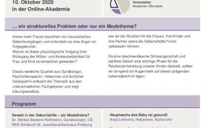 Interdisziplinäres Online-Forum: Gewalt und Traumatisierung in der Geburtshilfe 10.10.2020 in der Online-Akademie